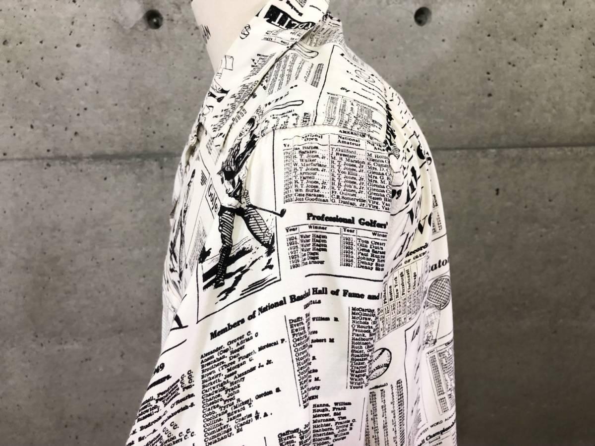 希少 《 Special !! / Newspaper / 1940年代製 》40s 50s 美品【 Enro ビンテージ レーヨン ニュースペーパー シャツ マイフリーダム6 】_画像6