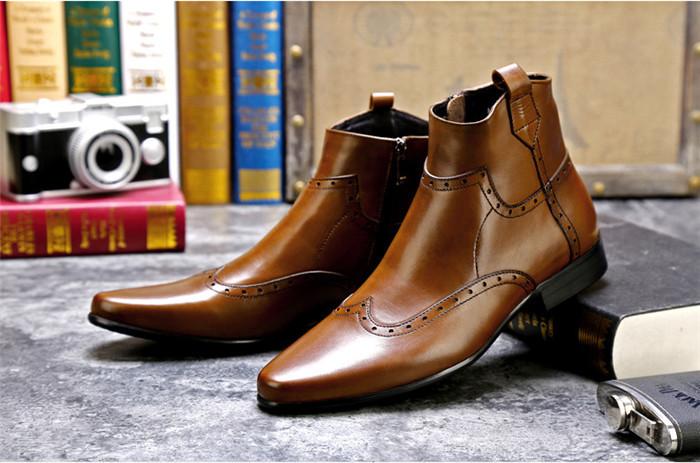 貴重品 高級本革 牛革 ハイトップシューズ ハンドメイド ブーツ マーティンブーツ 紳士 ビジネスシューズ メンズ 革靴 実物写真