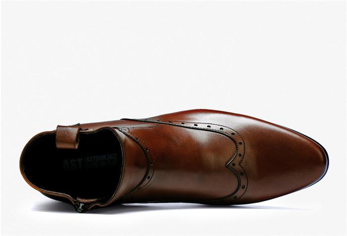 貴重品 高級本革 牛革 ハイトップシューズ ハンドメイド ブーツ マーティンブーツ 紳士 ビジネスシューズ メンズ 革靴 実物写真_画像5