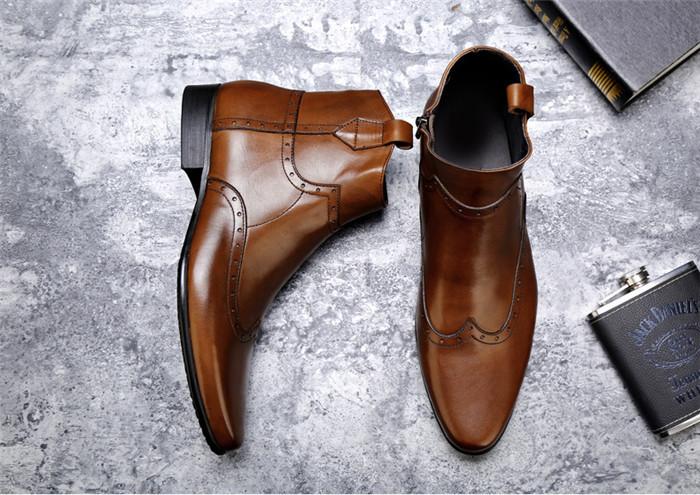 貴重品 高級本革 牛革 ハイトップシューズ ハンドメイド ブーツ マーティンブーツ 紳士 ビジネスシューズ メンズ 革靴 実物写真_画像2