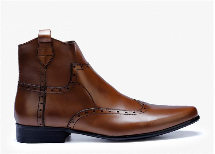 貴重品 高級本革 牛革 ハイトップシューズ ハンドメイド ブーツ マーティンブーツ 紳士 ビジネスシューズ メンズ 革靴 実物写真_画像4