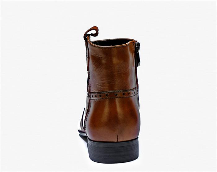 貴重品 高級本革 牛革 ハイトップシューズ ハンドメイド ブーツ マーティンブーツ 紳士 ビジネスシューズ メンズ 革靴 実物写真_画像6