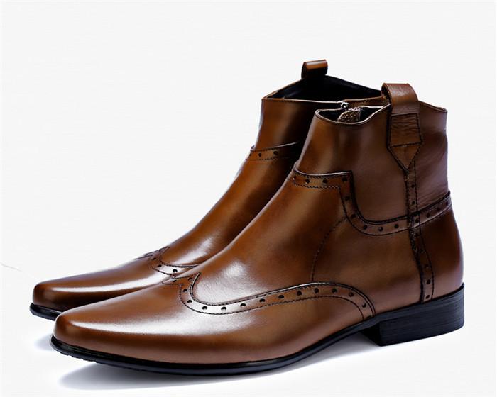 貴重品 高級本革 牛革 ハイトップシューズ ハンドメイド ブーツ マーティンブーツ 紳士 ビジネスシューズ メンズ 革靴 実物写真_画像7