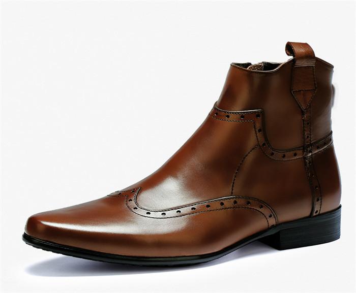 貴重品 高級本革 牛革 ハイトップシューズ ハンドメイド ブーツ マーティンブーツ 紳士 ビジネスシューズ メンズ 革靴 実物写真_画像3
