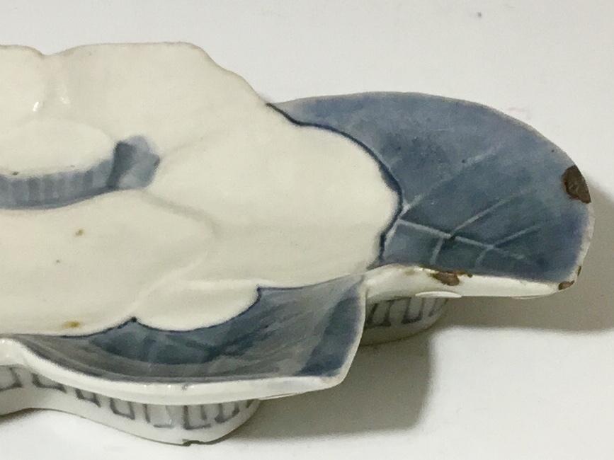 (翔)古伊万里 染付 藍九谷 寛文期 椿 陽刻 椿形 折松葉 変形皿 ⑥ 1650~1670年代前後_画像7