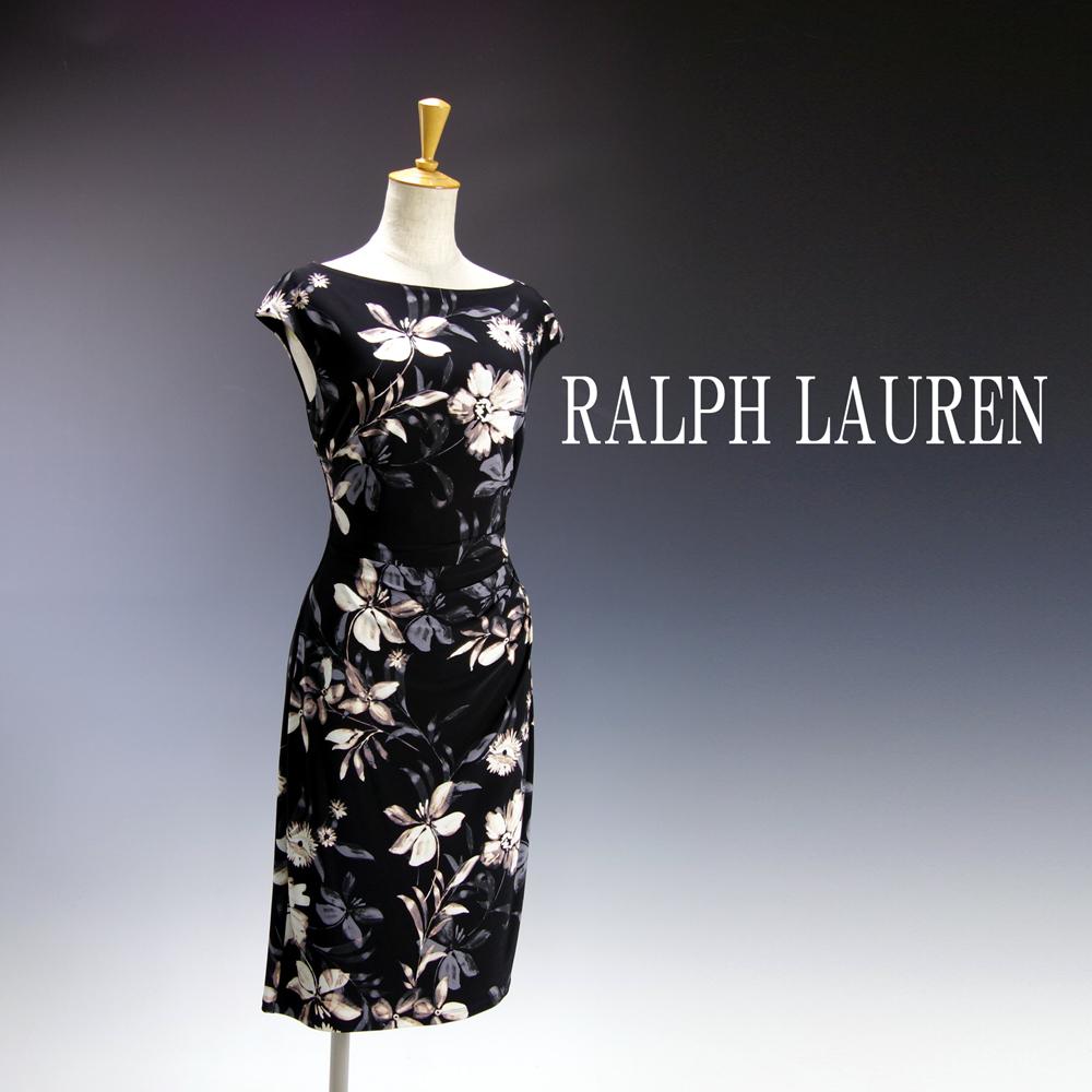 新品 ラルフローレン6/9号 黒 白 グレー 花柄 フレンチスリーブ ワンピースドレス パーティドレス 結婚式 二次会 華34N1602