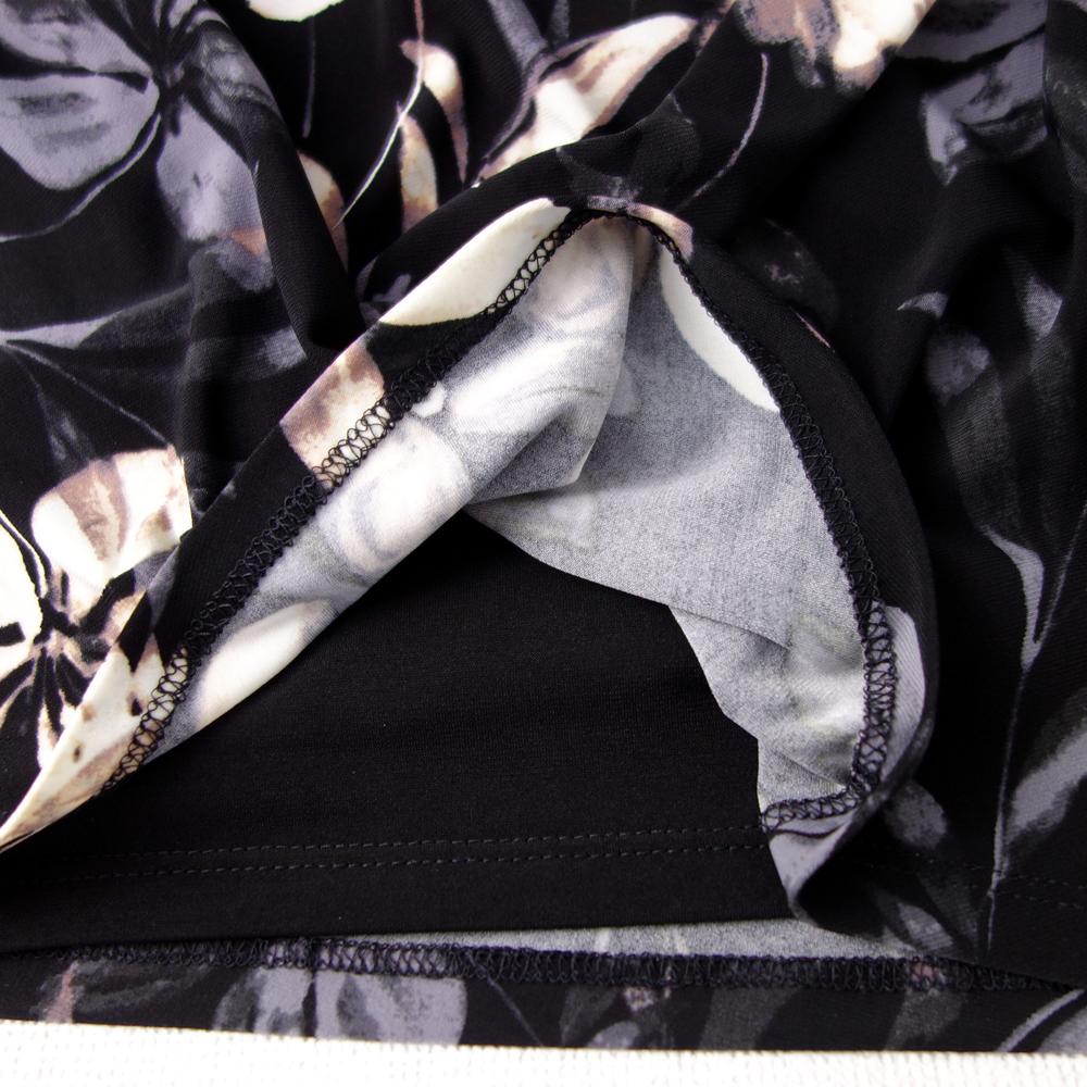 新品 ラルフローレン6/9号 黒 白 グレー 花柄 フレンチスリーブ ワンピースドレス パーティドレス 結婚式 二次会 華34N1602_画像3