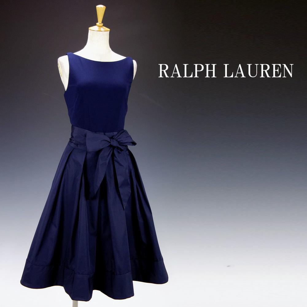 新品 ラルフローレン 10P/15号 紺リボンAライン膝丈 ワンピースドレス ネイビー パーティドレス 結婚式 二次会輝 39J093_画像1