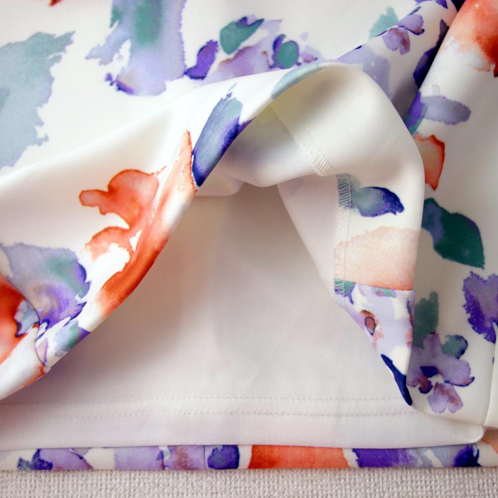 新品カルバンクライン6P/9号 白 薄紫 青 オレンジ 水彩画の花柄 ノースリーブワンピースドレス29J2614_画像9
