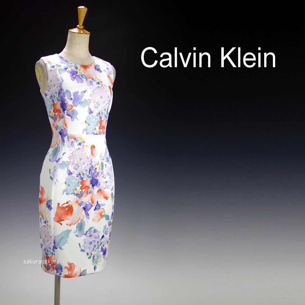 新品カルバンクライン6P/9号 白 薄紫 青 オレンジ 水彩画の花柄 ノースリーブワンピースドレス29J2614_画像2