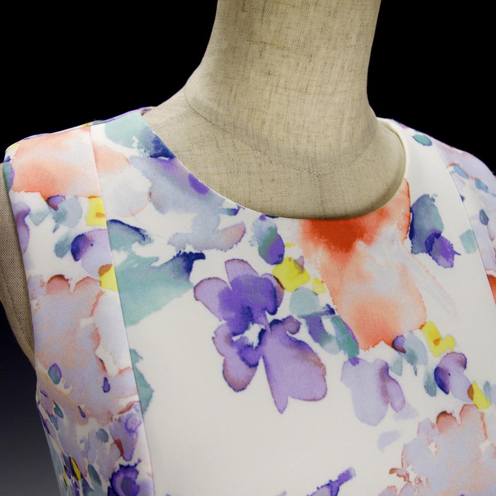 新品カルバンクライン6P/9号 白 薄紫 青 オレンジ 水彩画の花柄 ノースリーブワンピースドレス29J2614