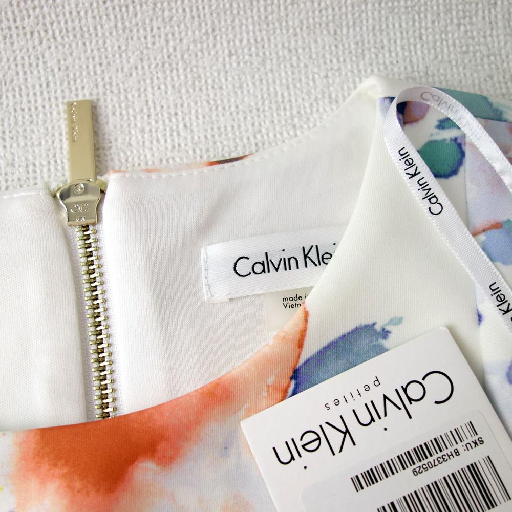 新品カルバンクライン6P/9号 白 薄紫 青 オレンジ 水彩画の花柄 ノースリーブワンピースドレス29J2614_画像3