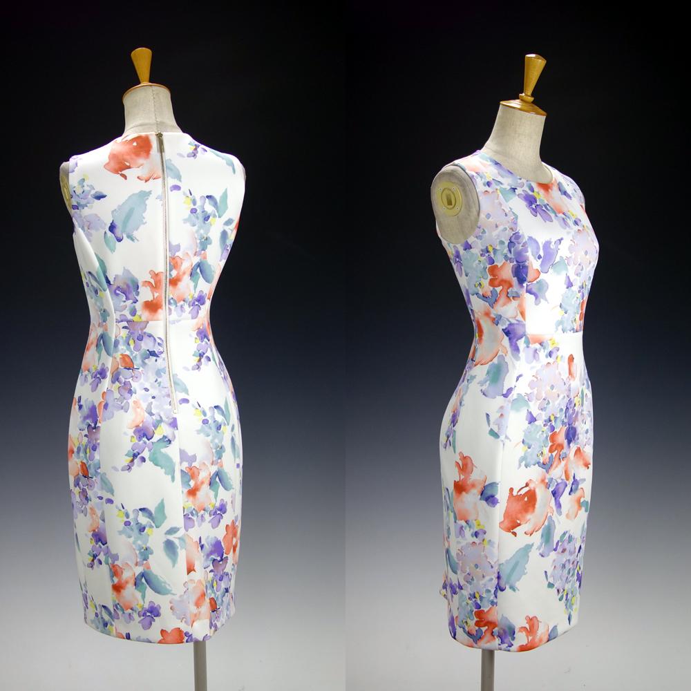新品カルバンクライン6P/9号 白 薄紫 青 オレンジ 水彩画の花柄 ノースリーブワンピースドレス29J2614_画像6