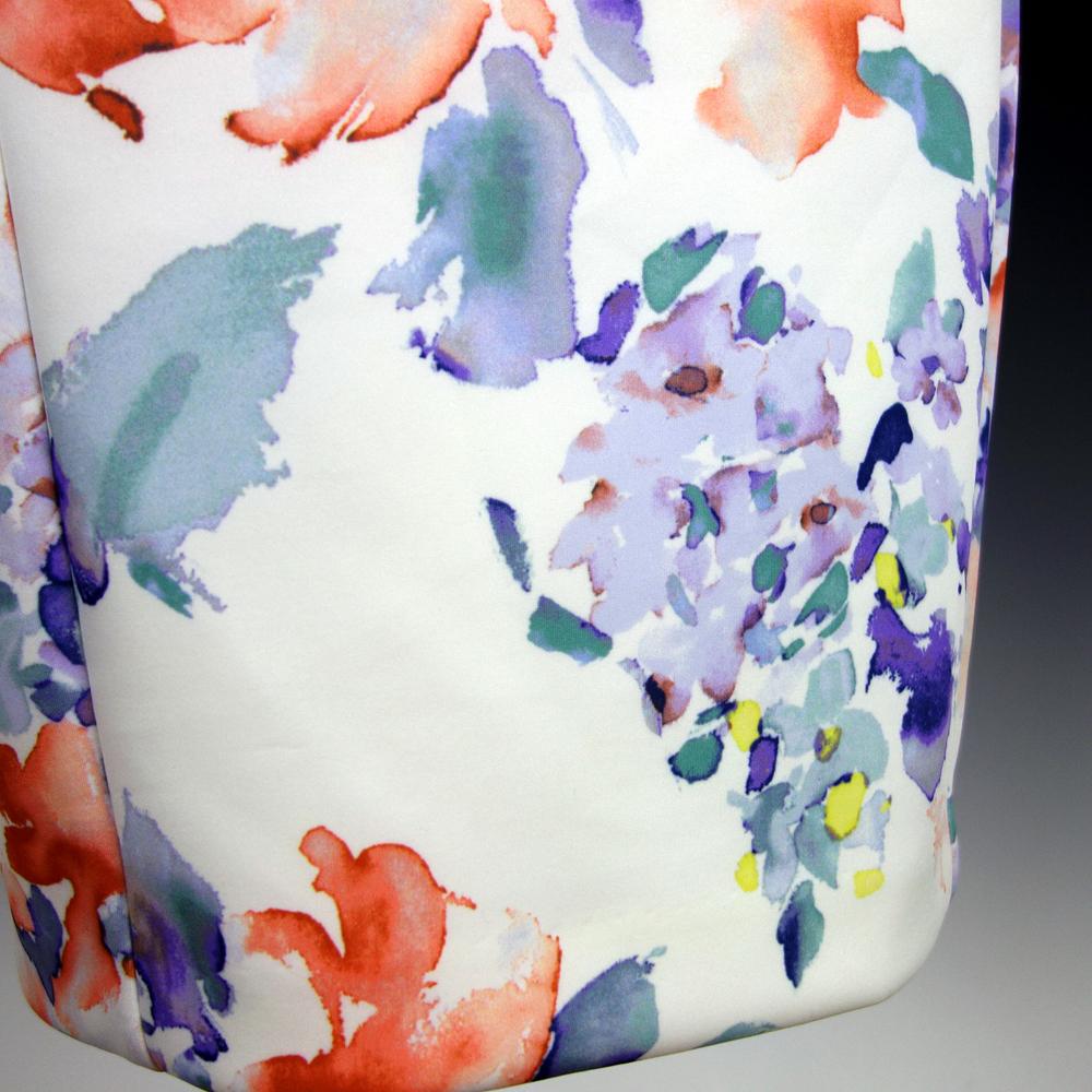 新品カルバンクライン6P/9号 白 薄紫 青 オレンジ 水彩画の花柄 ノースリーブワンピースドレス29J2614_画像5