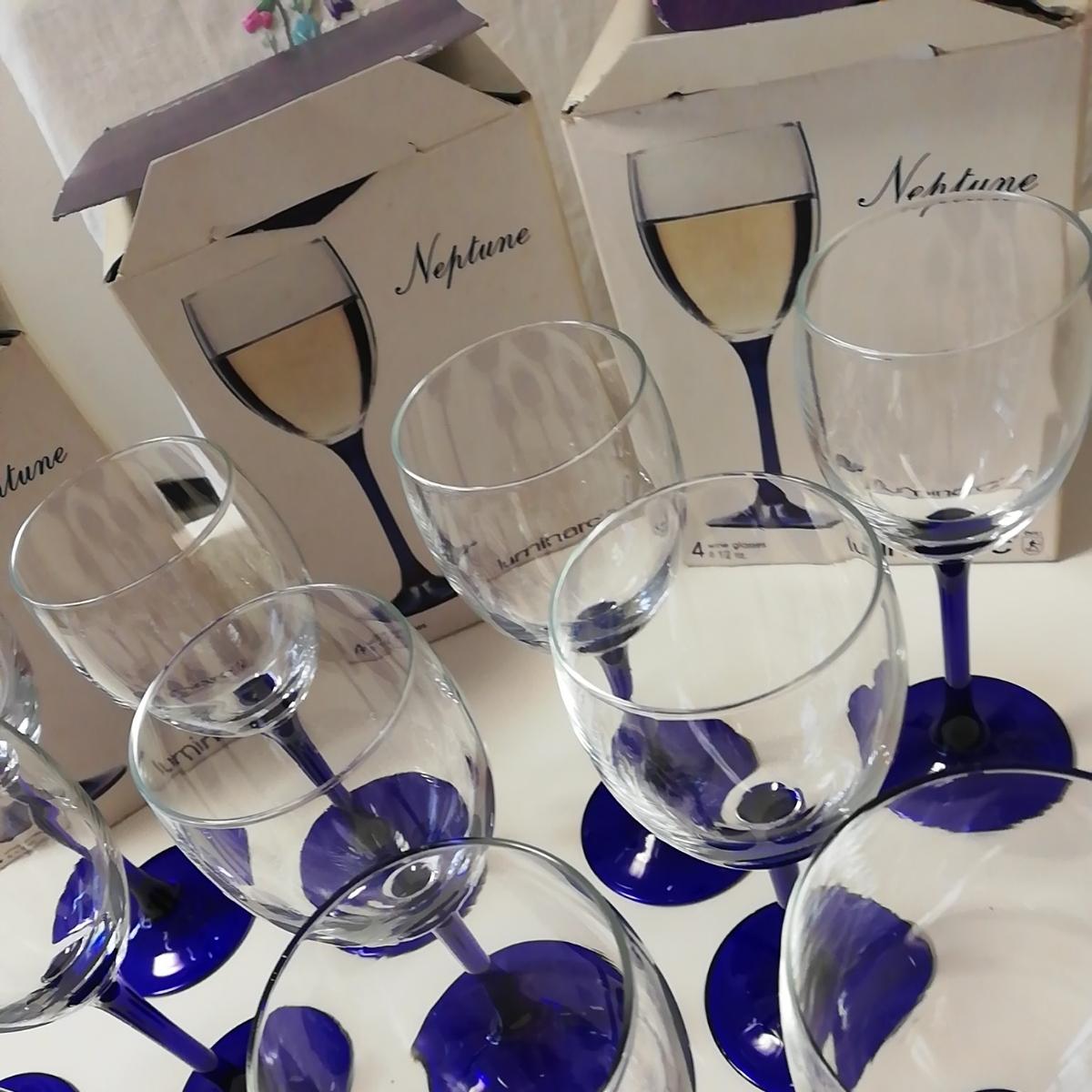 ●新品 ワイングラス ブルー フランス製 リュミナルク グラス 12客 luminarc 店舗お店飲食店に FRANCE 足付脚付 ゴブレット●大量セット_画像6
