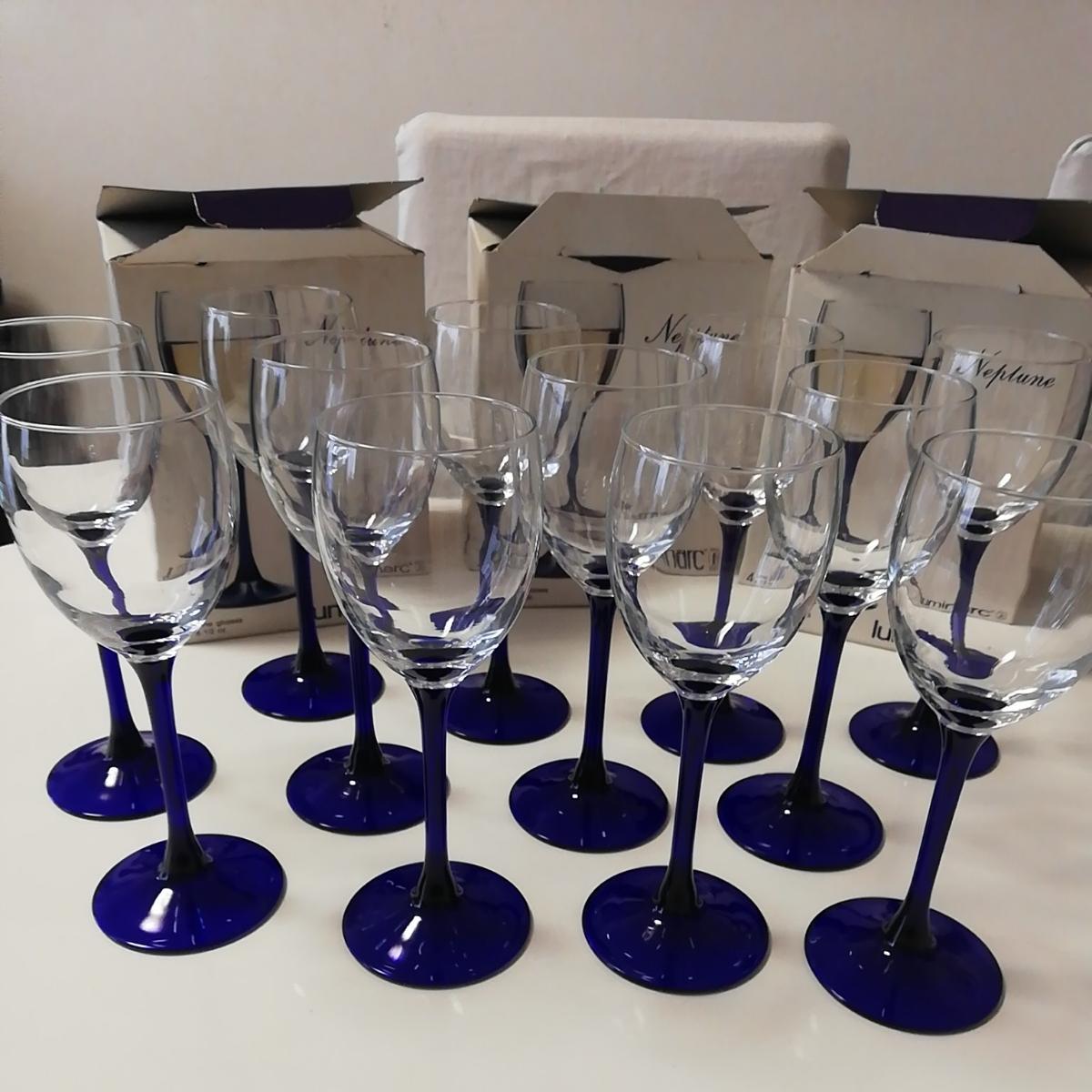 ●新品 ワイングラス ブルー フランス製 リュミナルク グラス 12客 luminarc 店舗お店飲食店に FRANCE 足付脚付 ゴブレット●大量セット