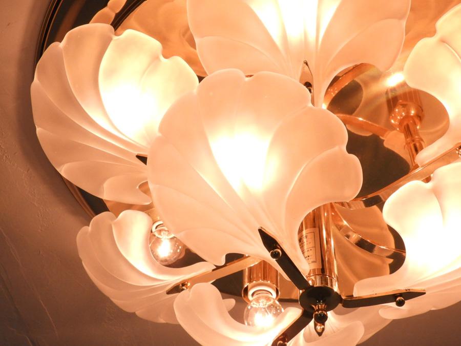 ヤマギワ イタリア製 乳白ガラス×真鍮 シーリングシャンデリア9灯/アンティーク クラシック ロココ アールヌーボー_画像2