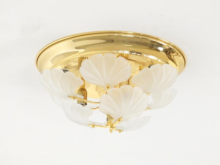 ヤマギワ イタリア製 乳白ガラス×真鍮 シーリングシャンデリア9灯/アンティーク クラシック ロココ アールヌーボー_画像3