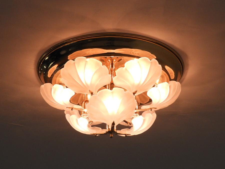 ヤマギワ イタリア製 乳白ガラス×真鍮 シーリングシャンデリア9灯/アンティーク クラシック ロココ アールヌーボー