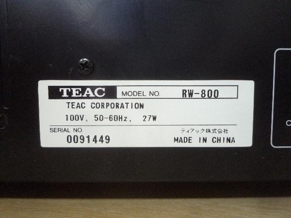 ティアック TEAC☆RW-800 CDレコーダー リモコン付き☆CD再生可 ほか未チェック ジャンク品_画像9