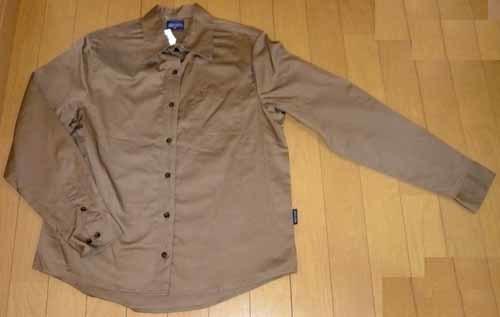 長袖☆シャツ・ブラウス☆綿100% ☆シルクブラウンで上品【新品/タグ付】M_画像1