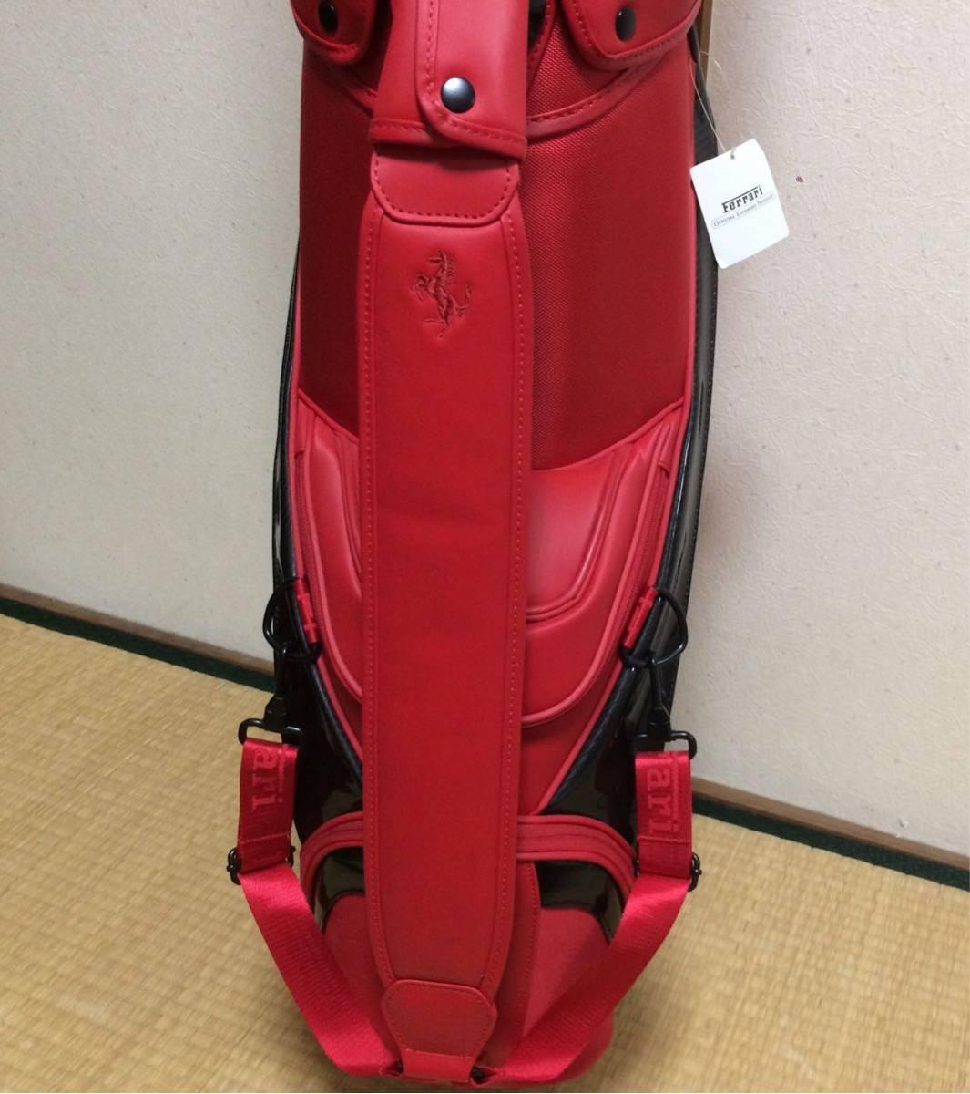 未使用保管品 Ferrari フェラーリ cobra コブラ キャディバッグ ゴルフバッグ キャディーバッグ レッド 909034-02_画像4