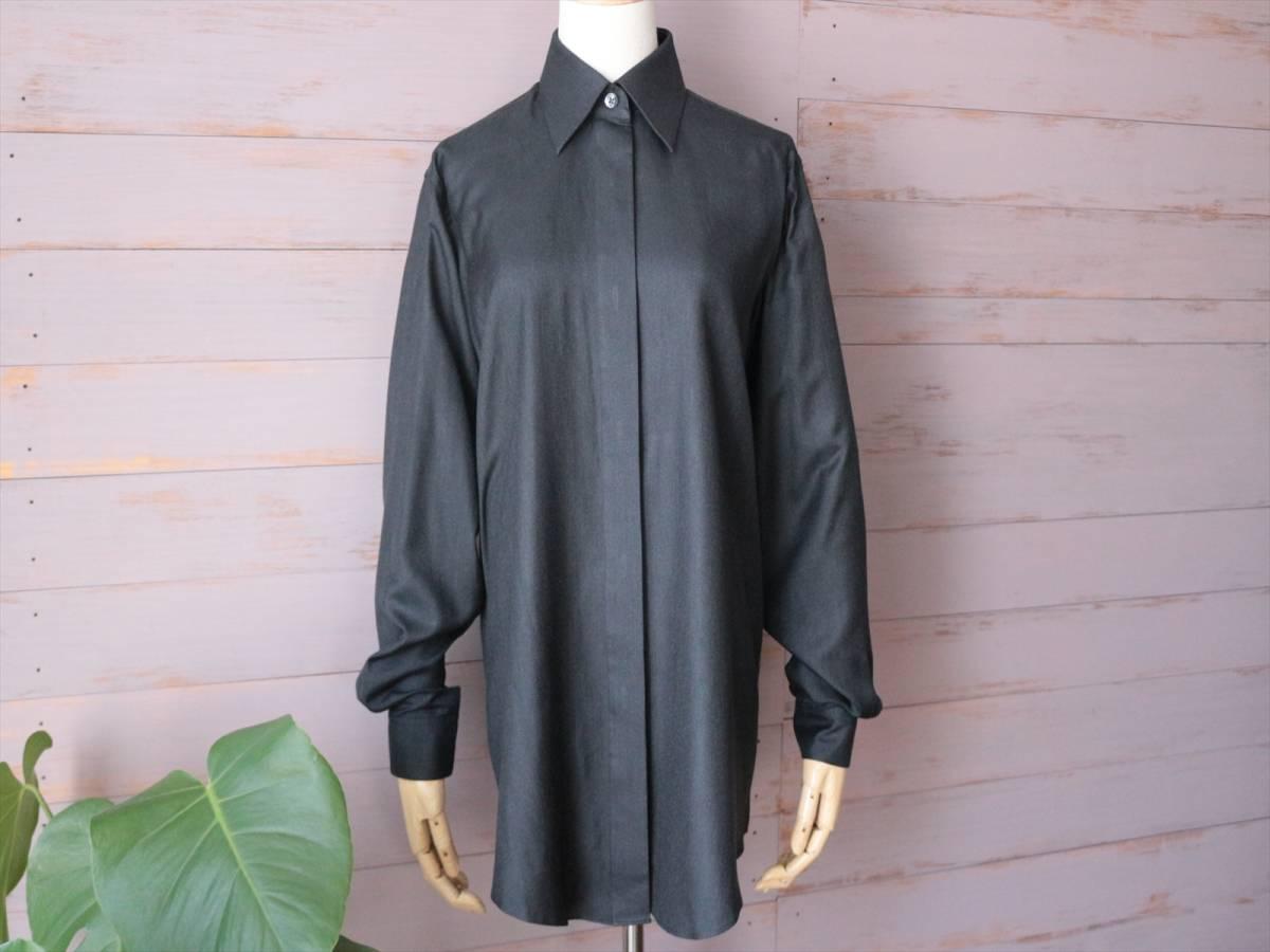 本物保証|エルメス マルジェラ期 シャツ ブラウス シルク 100% ブラック 黒 良品 HERMES_画像1