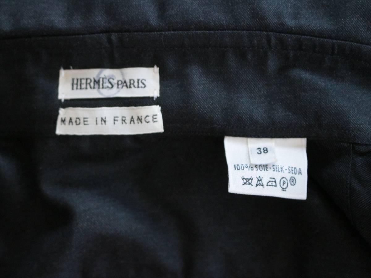 本物保証|エルメス マルジェラ期 シャツ ブラウス シルク 100% ブラック 黒 良品 HERMES_画像8