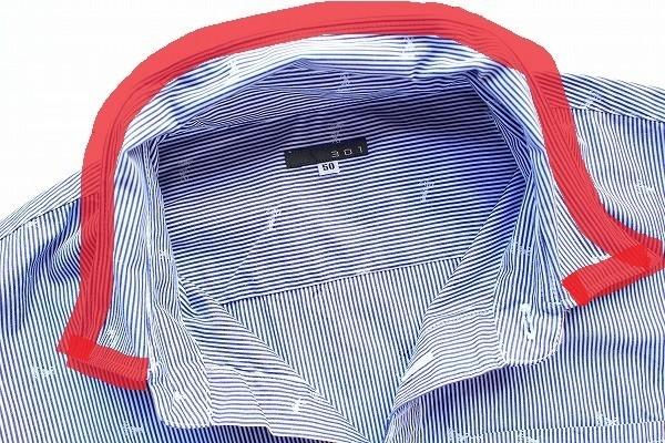 301 トレンチェントウノ 即決 綺麗め シャツ トップス 半袖 カジュアル コットン ストライプ 50 青 白 ブルー ホワイト メンズ [567138]_一番近い色です。