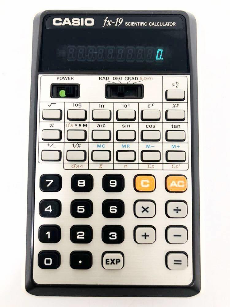 620h1 レア! CASIO カシオ 関数電卓 DX-19 scientific calculator 計算機 電卓 関数 分数計算 通電確認済み 1976年 昭和レトロ 希少 !_画像2