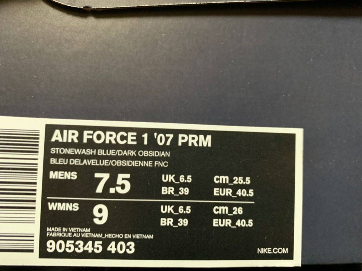 25.5cm US7.5 NIKE AIR FORCE 1 07 PRM STONEWASH BLUE OBSIDIAN 19SU-S ナイキ エアフォース1 デニム ブルー 905345 403 3x1 国内atmos_画像8