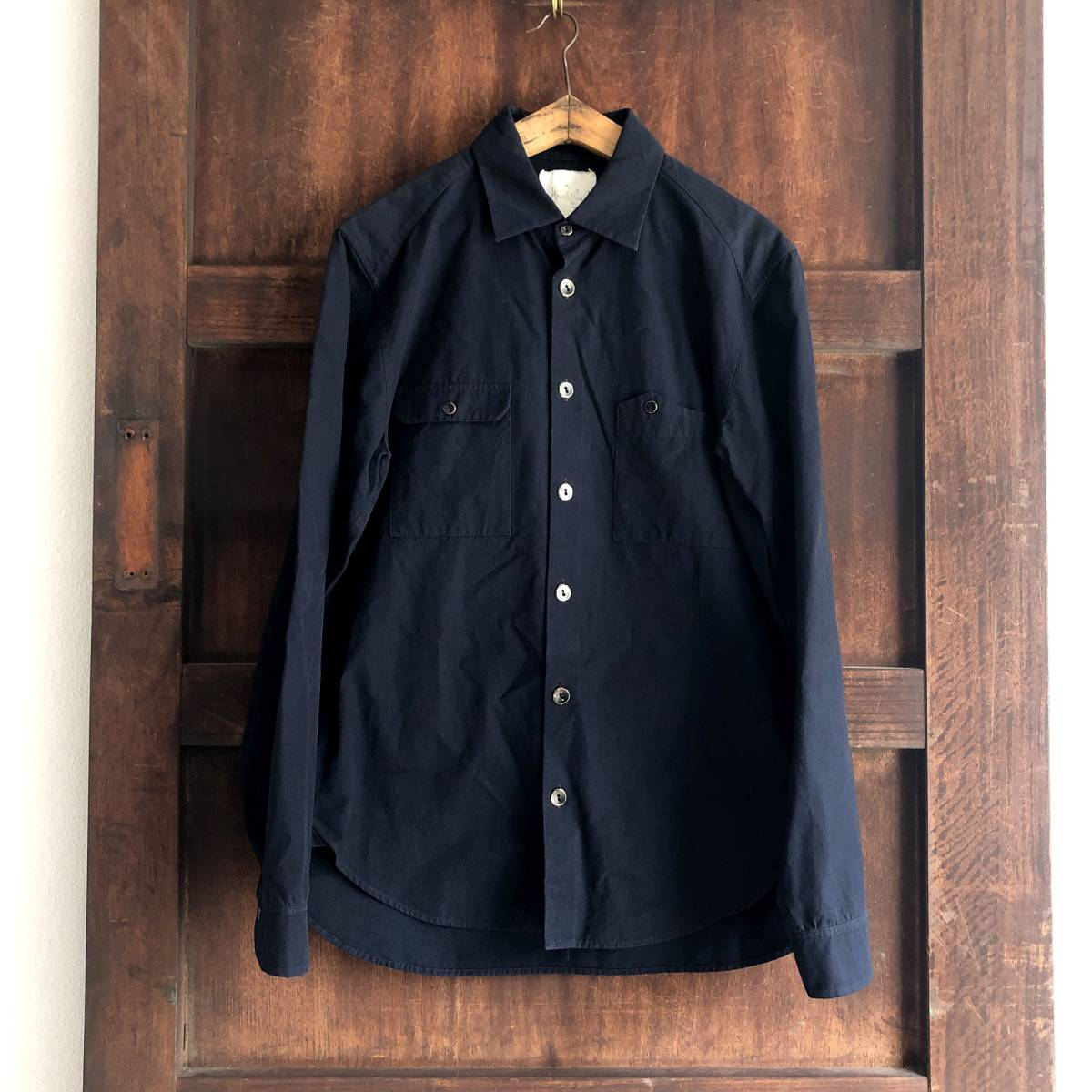 Araki Yuu 17AW Double pocket shirt jacket Nero_navy/Black button SIZE1 アラキユウ/シャツ/ジャケット_画像2