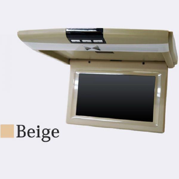 ベージュ ルームランプ内蔵 9インチ フリップダウンモニター IRイヤホン 対応 鮮明画像 800×480 WVGA 記憶電源機能 最大約120度 開閉可能_画像2