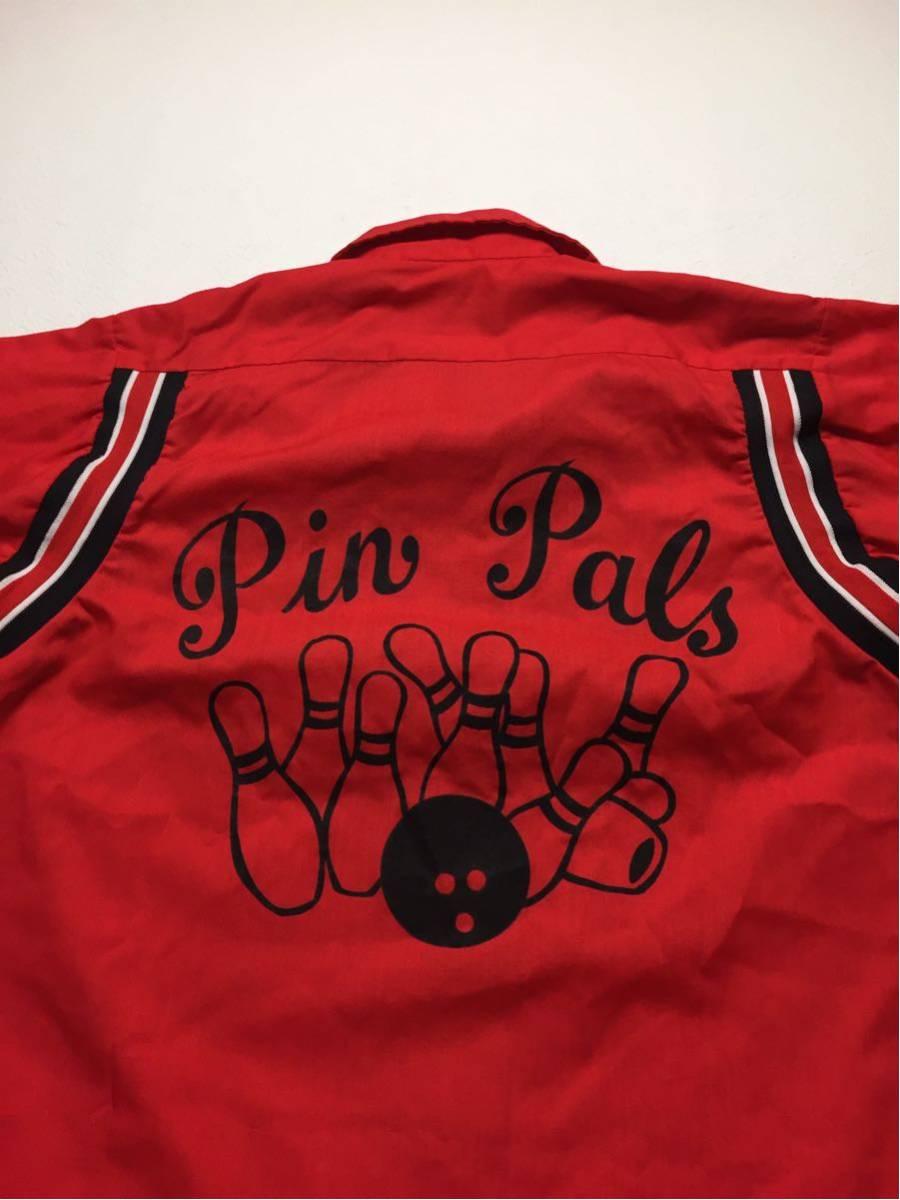 ◆ Hilton ◆ ヒルトン ◆ 良好 70s ヴィンテージ オリジナル バック フロッキープリント リブライン切替 ボーリングシャツ 36 メンズM程度_画像6
