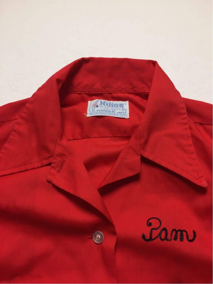 ◆ Hilton ◆ ヒルトン ◆ 良好 70s ヴィンテージ オリジナル バック フロッキープリント リブライン切替 ボーリングシャツ 36 メンズM程度_画像7
