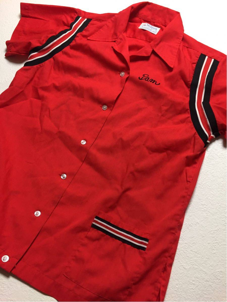 ◆ Hilton ◆ ヒルトン ◆ 良好 70s ヴィンテージ オリジナル バック フロッキープリント リブライン切替 ボーリングシャツ 36 メンズM程度_画像4
