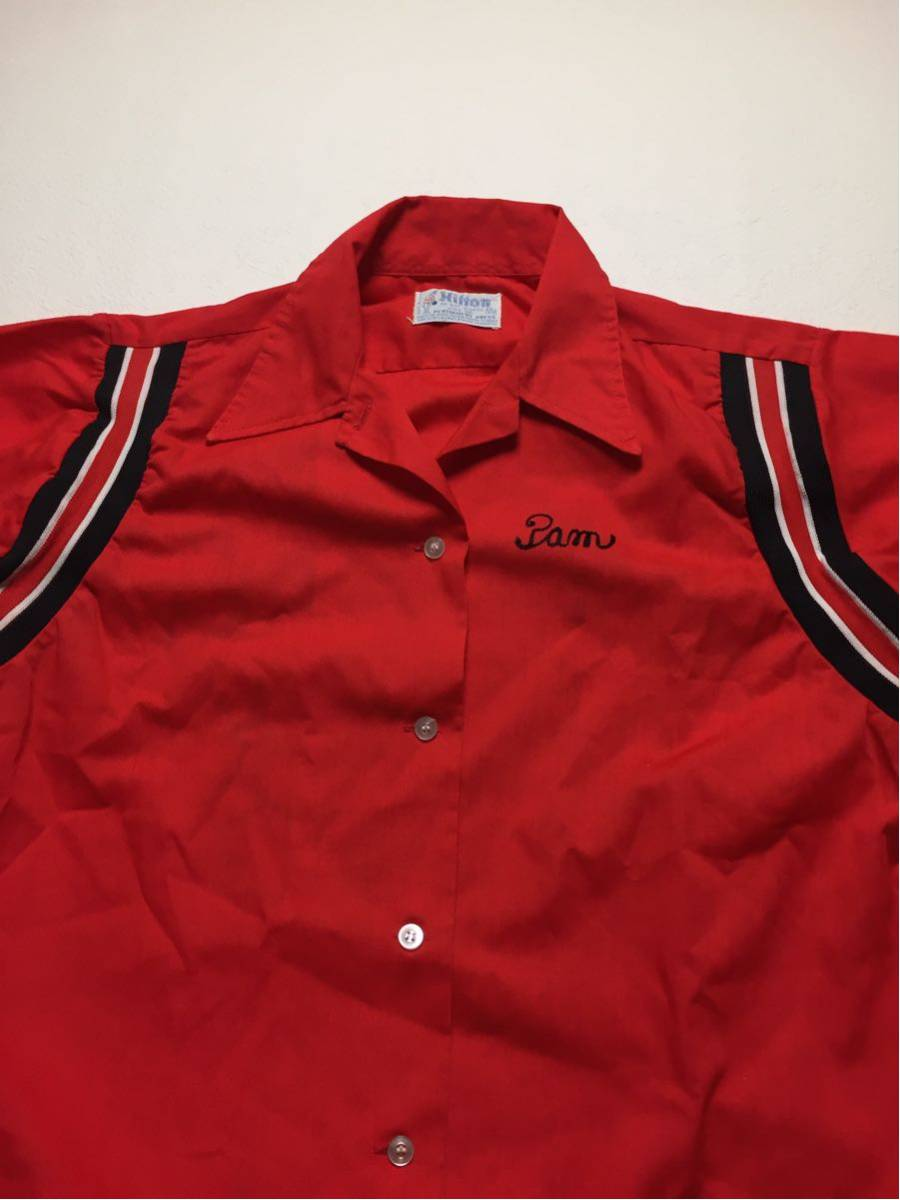 ◆ Hilton ◆ ヒルトン ◆ 良好 70s ヴィンテージ オリジナル バック フロッキープリント リブライン切替 ボーリングシャツ 36 メンズM程度_画像5