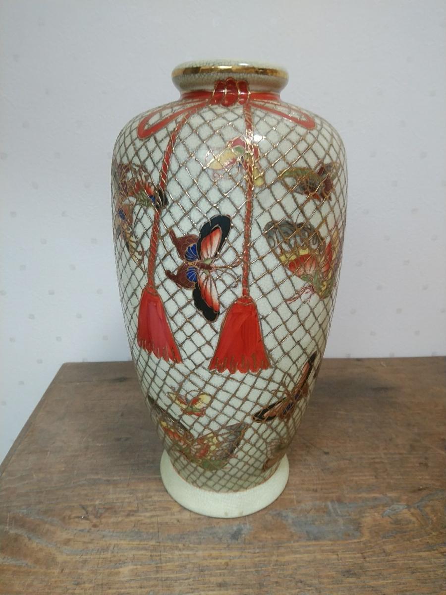 京薩摩風 美濃焼 瀬戸焼 花瓶 花入れ 花器 戦前 大正時代 昭和初期