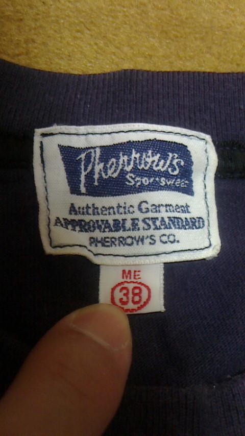 Pherrow's フェローズ Tシャツ パープル サイズ38 日本製 USED 古着_画像5