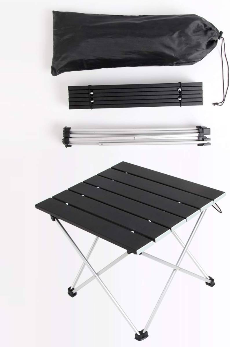 ロールテーブル アルミ製 折りたたみ式 耐荷重30kgまで コンパクト 滑り止め アウトドア ハイキング キャンプなど 専用収納袋付き _画像3