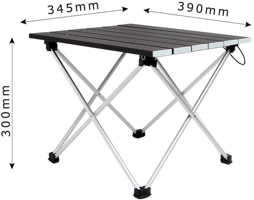 ロールテーブル アルミ製 折りたたみ式 耐荷重30kgまで コンパクト 滑り止め アウトドア ハイキング キャンプなど 専用収納袋付き _画像2