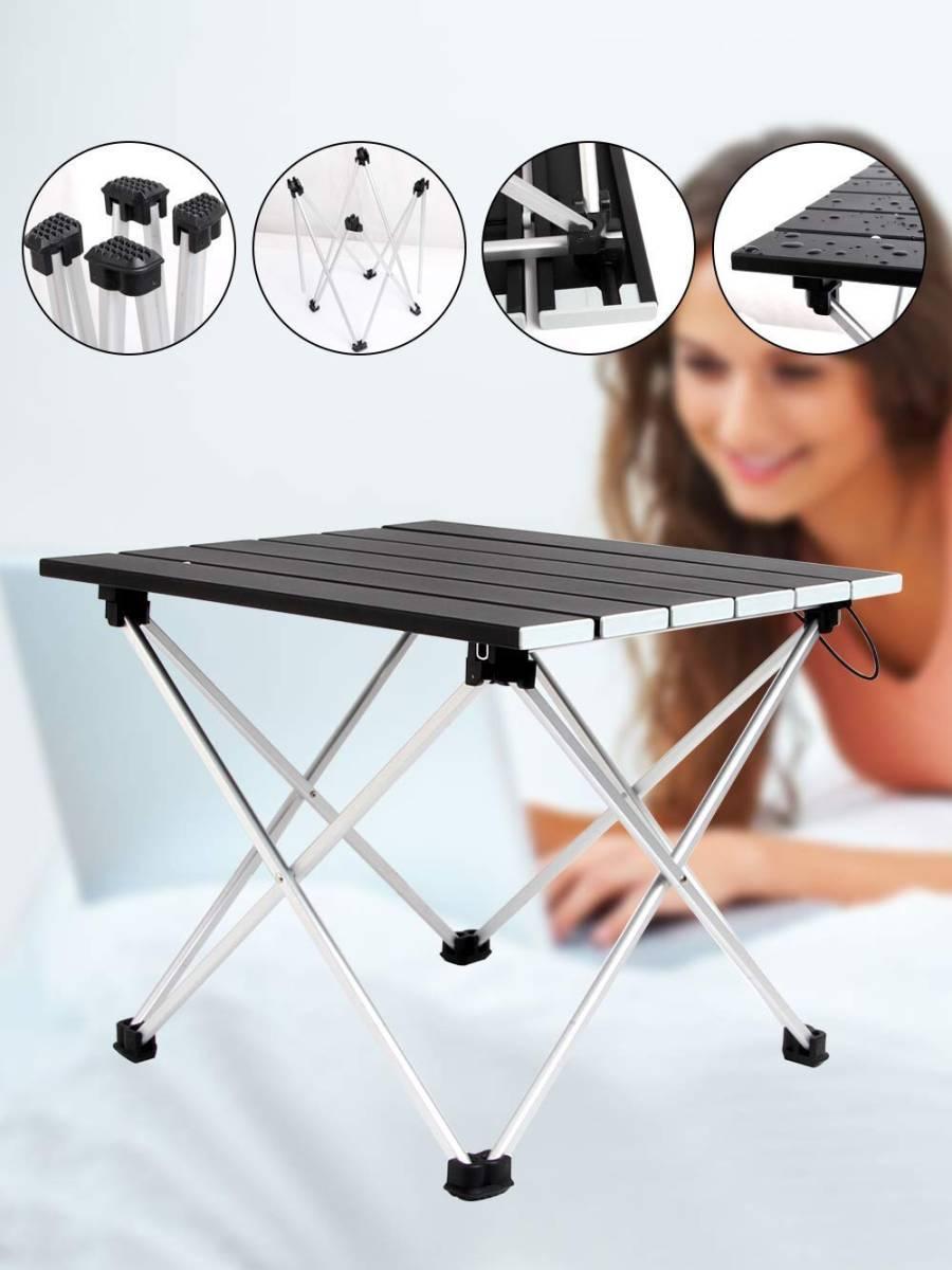 ロールテーブル アルミ製 折りたたみ式 耐荷重30kgまで コンパクト 滑り止め アウトドア ハイキング キャンプなど 専用収納袋付き _画像5