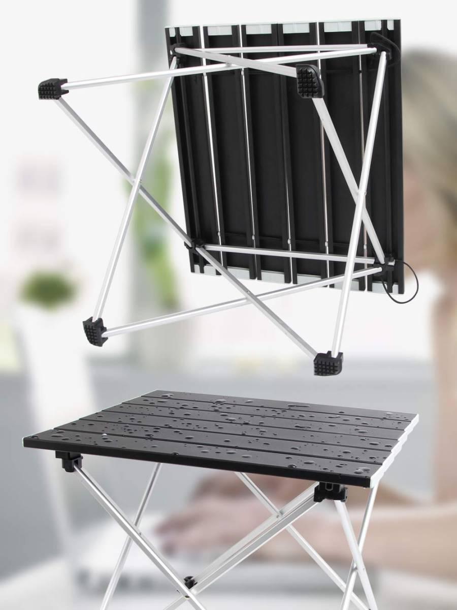 ロールテーブル アルミ製 折りたたみ式 耐荷重30kgまで コンパクト 滑り止め アウトドア ハイキング キャンプなど 専用収納袋付き _画像6