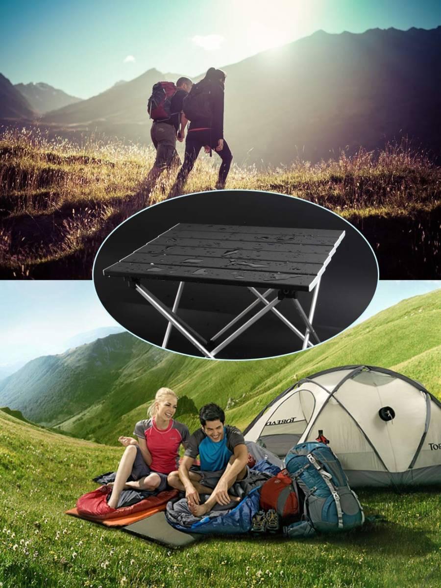 ロールテーブル アルミ製 折りたたみ式 耐荷重30kgまで コンパクト 滑り止め アウトドア ハイキング キャンプなど 専用収納袋付き _画像7