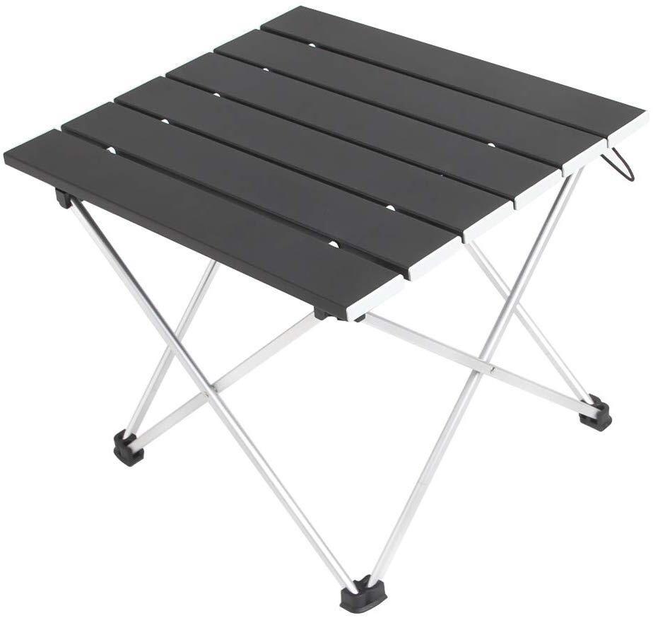 ロールテーブル アルミ製 折りたたみ式 耐荷重30kgまで コンパクト 滑り止め アウトドア ハイキング キャンプなど 専用収納袋付き
