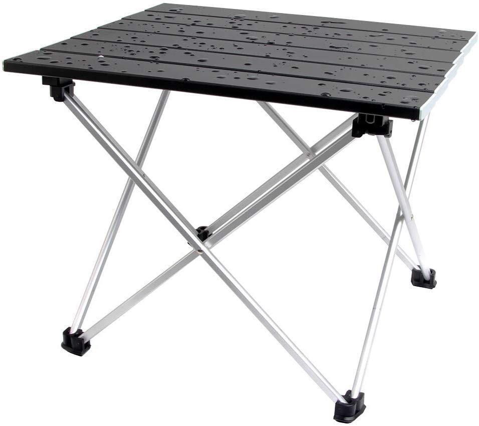 ロールテーブル アルミ製 折りたたみ式 耐荷重30kgまで コンパクト 滑り止め アウトドア ハイキング キャンプなど 専用収納袋付き _画像4
