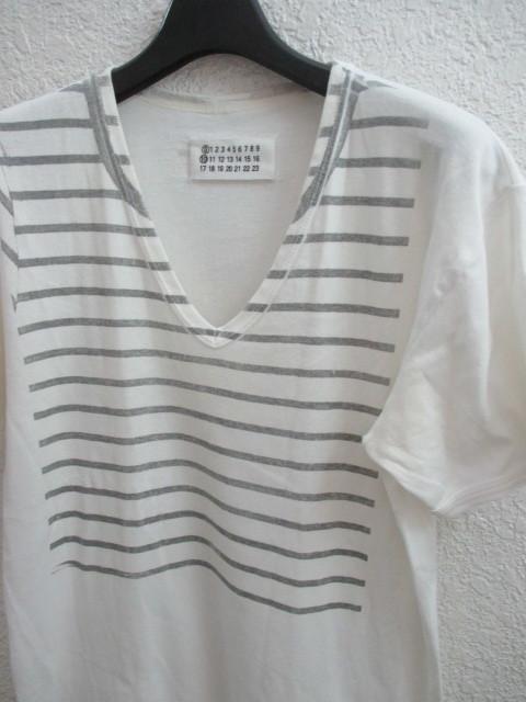 初期 アーカイブ Martin Margiela 0 10 マルタンマルジェラ アーティザナル ボーダーTシャツ 転写プリントTシャツ メンズ L 白×黒