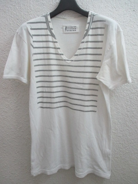 初期 アーカイブ Martin Margiela 0 10 マルタンマルジェラ アーティザナル ボーダーTシャツ 転写プリントTシャツ メンズ L 白×黒_画像2