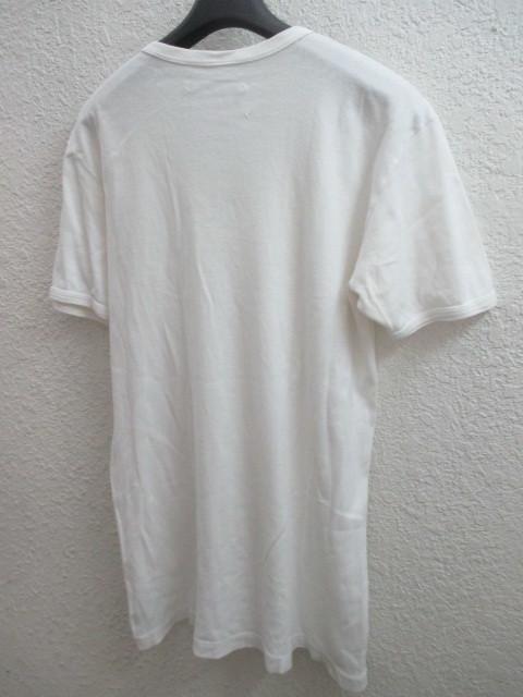 初期 アーカイブ Martin Margiela 0 10 マルタンマルジェラ アーティザナル ボーダーTシャツ 転写プリントTシャツ メンズ L 白×黒_画像10