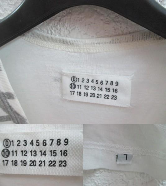 初期 アーカイブ Martin Margiela 0 10 マルタンマルジェラ アーティザナル ボーダーTシャツ 転写プリントTシャツ メンズ L 白×黒_画像4